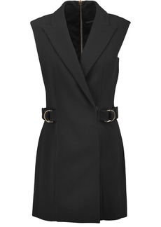 Balmain Woman Wrap-effect Crepe Mini Dress Black