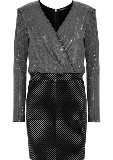 Balmain Woman Wrap-effect Crystal-embellished Stretch-knit Mini Dress Black