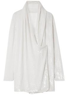 Balmain Woman Wrap-effect Draped Sequined Silk-chiffon Blouse Ecru