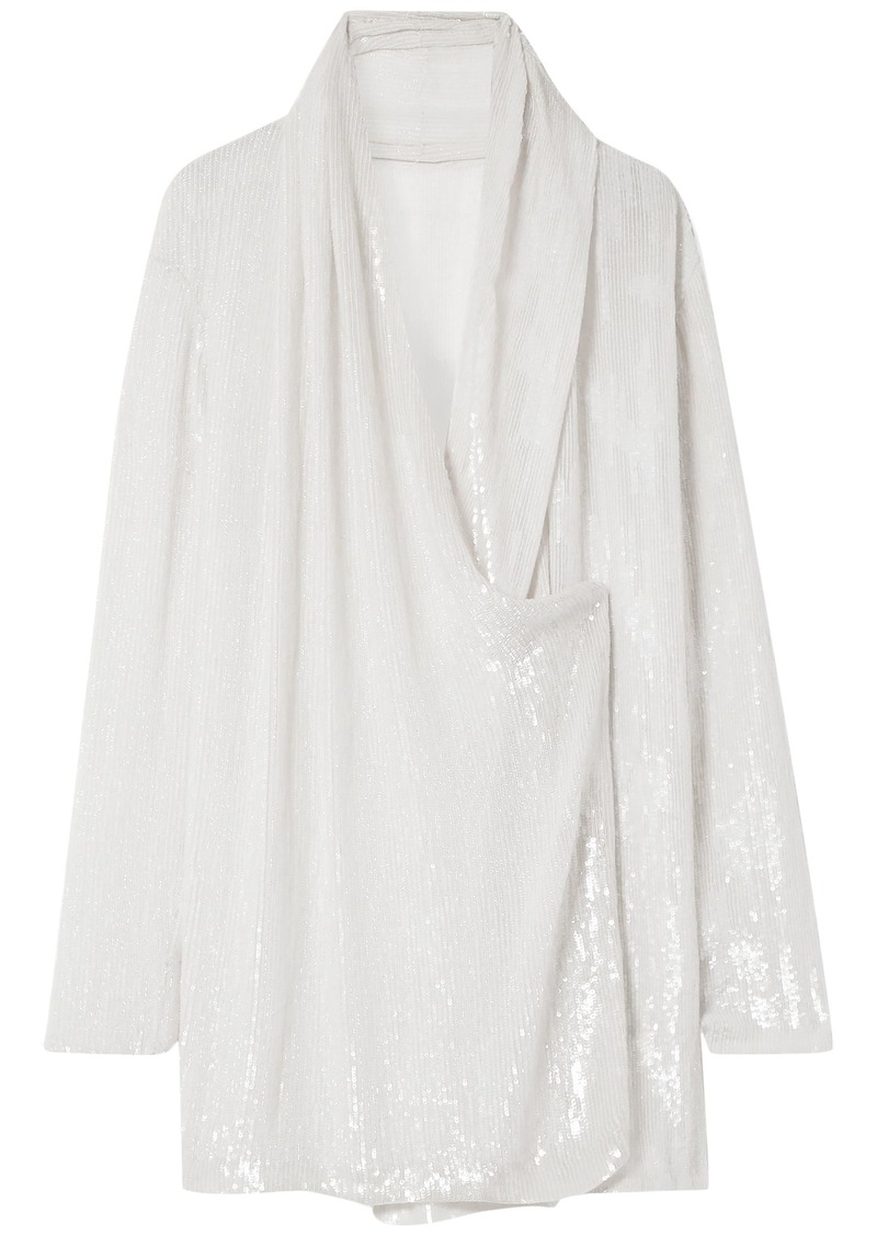Balmain Woman Wrap-effect Draped Sequined Silk-chiffon Blouse Ecru