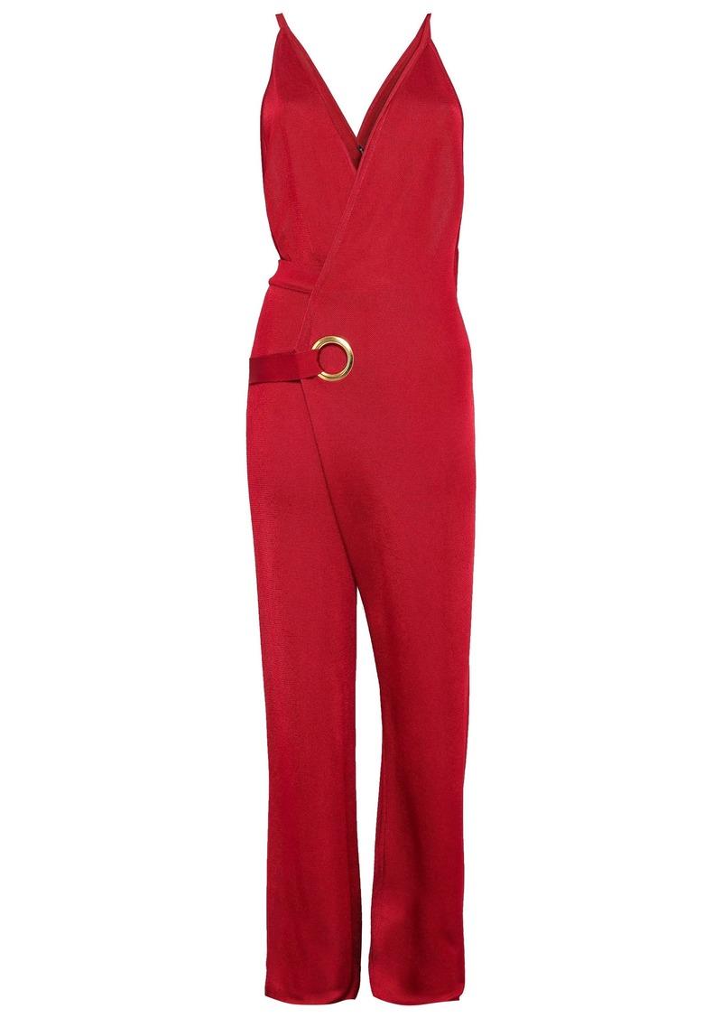 Balmain Woman Wrap-effect Stretch-knit Jumpsuit Claret