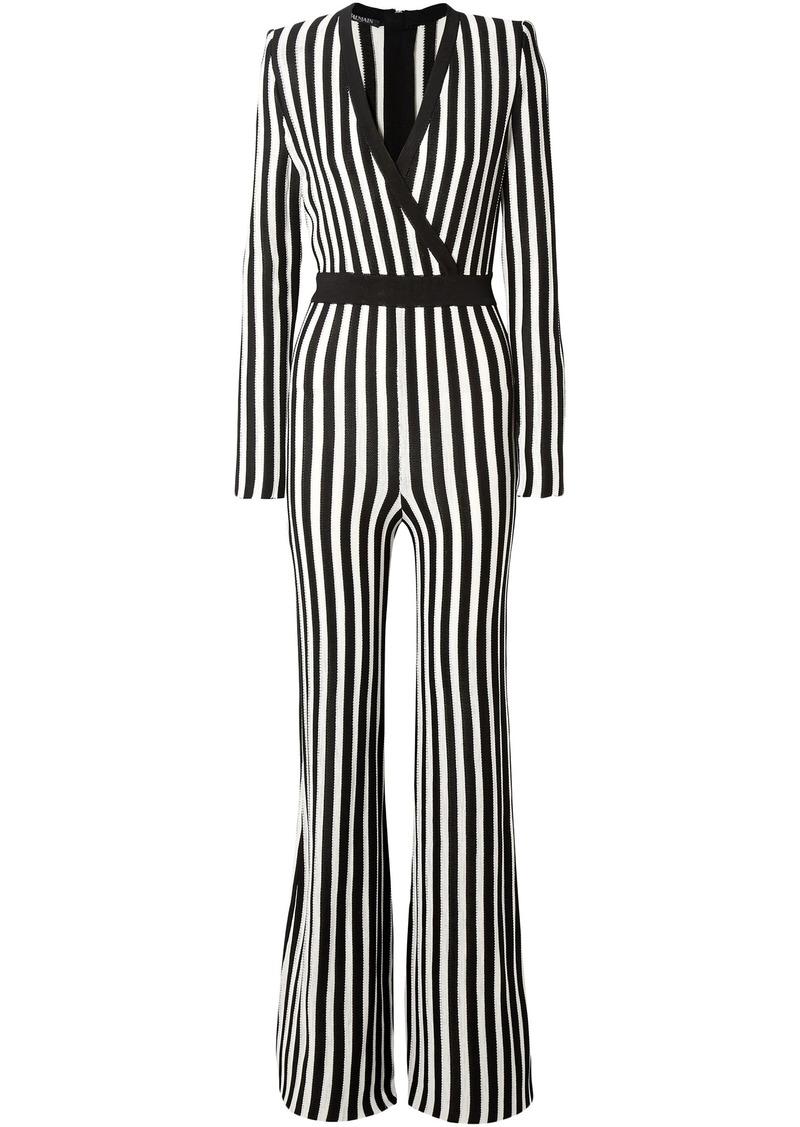 Balmain Woman Wrap-effect Striped Stretch-knit Jumpsuit Black