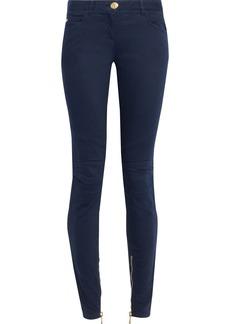 Balmain Woman Moto-style Low-rise Skinny Jeans Navy