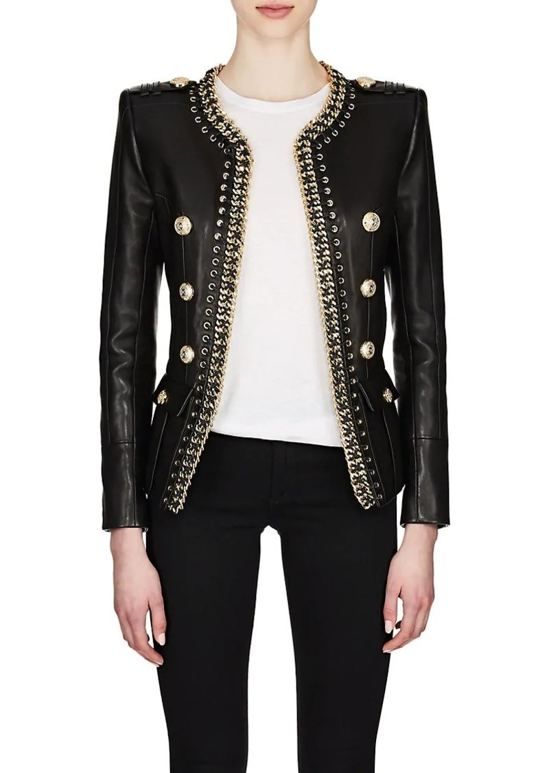 beda86ed283 Balmain Balmain Women's Chain-Embellished Leather Double-Breasted ...