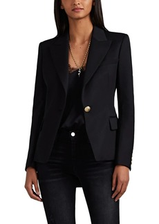 Balmain Women's Classic Virgin Wool Gabardine One-Button Blazer