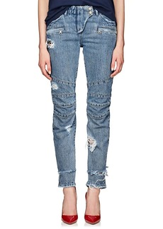 Balmain Women's Distressed Straight Biker Jeans