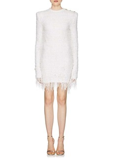 Balmain Women's Fringed Tweed Long-Sleeve Dress