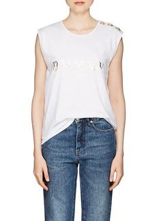 Balmain Women's Logo Cotton Sleeveless T-Shirt