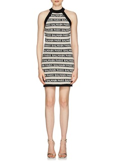 Balmain Women's Logo-Striped Linen-Blend Sleeveless Dress