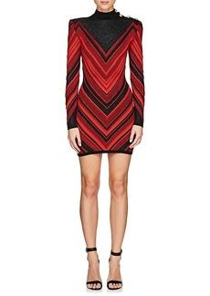 Balmain Women's Metallic Chevron-Knit Dress
