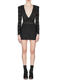 Balmain Women's Metallic V-Neck Dress