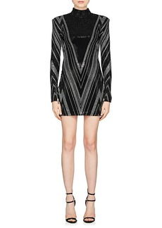 Balmain Women's Rhinestone-Embellished Compact Jersey Dress