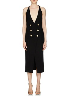 Balmain Women's Rib-Knit Double-Breasted Sleeveless Dress