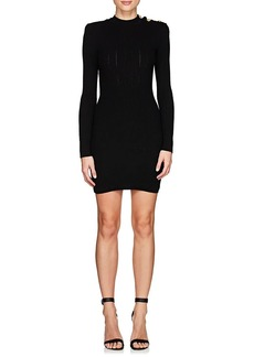 Balmain Women's Rib-Knit Wool-Blend Fitted Dress