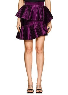 Balmain Women's Ruffled Pleated Satin Miniskirt