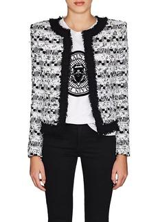 Balmain Women's Sequined Tweed Collarless Jacket