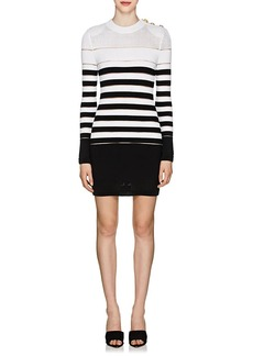 Balmain Women's Sheer-Striped Mixed-Knit Dress