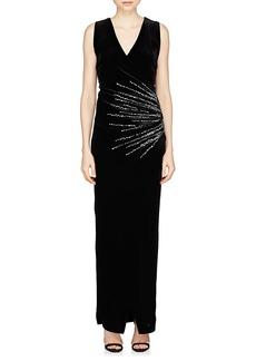 Balmain Women's Starburst-Motif Velvet Gown
