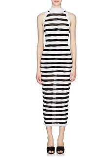 Balmain Women's Striped Knit Sleeveless Long Dress