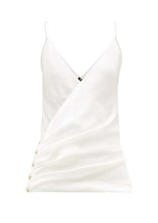 Balmain Wrap-effect silk camisole top