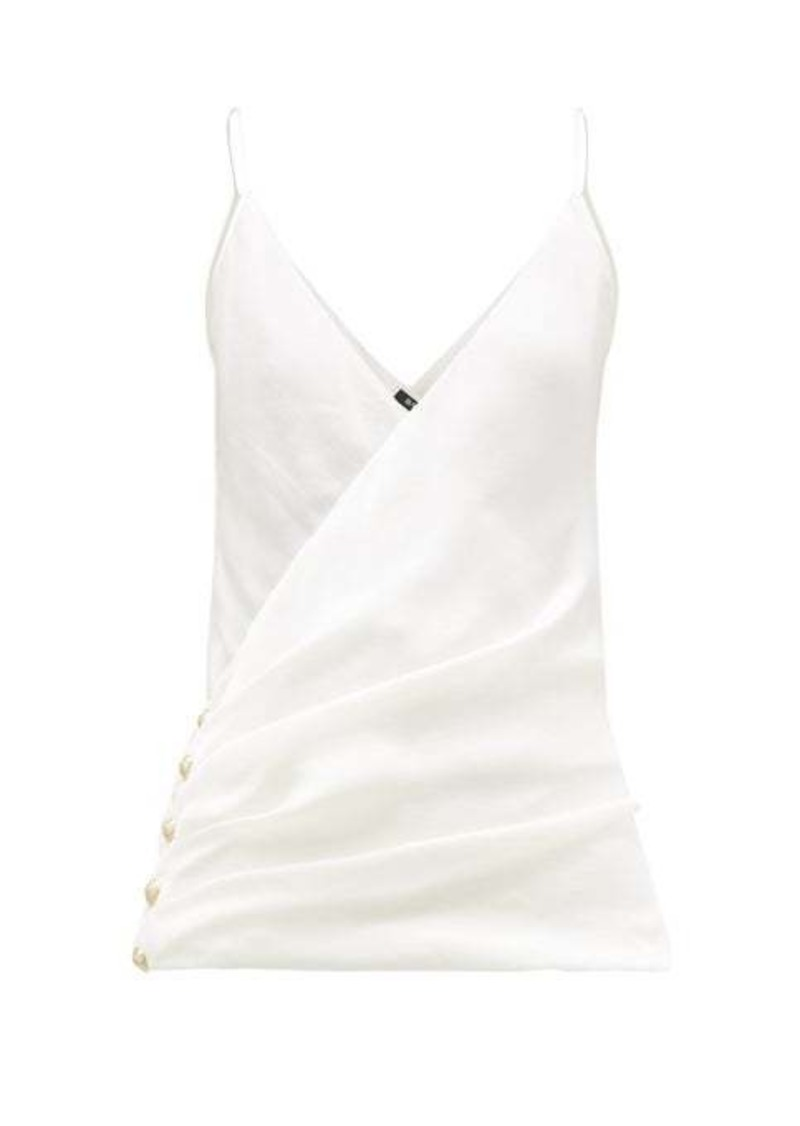 Balmain Wrap-effect silk camisole top