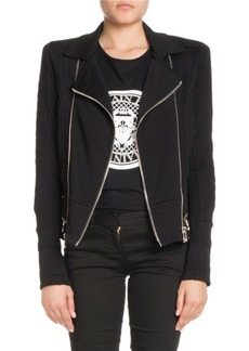 Balmain Zip-Front Cotton Moto Jacket