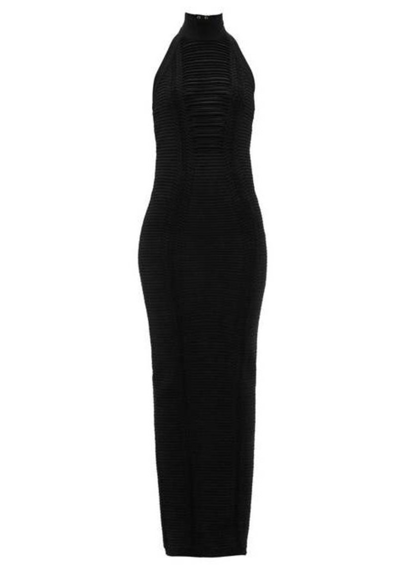 Balmain Zipped halterneck fagoted-stripe maxi dress