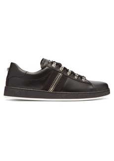 Balmain Zipper-trimmed leather low-top trainers