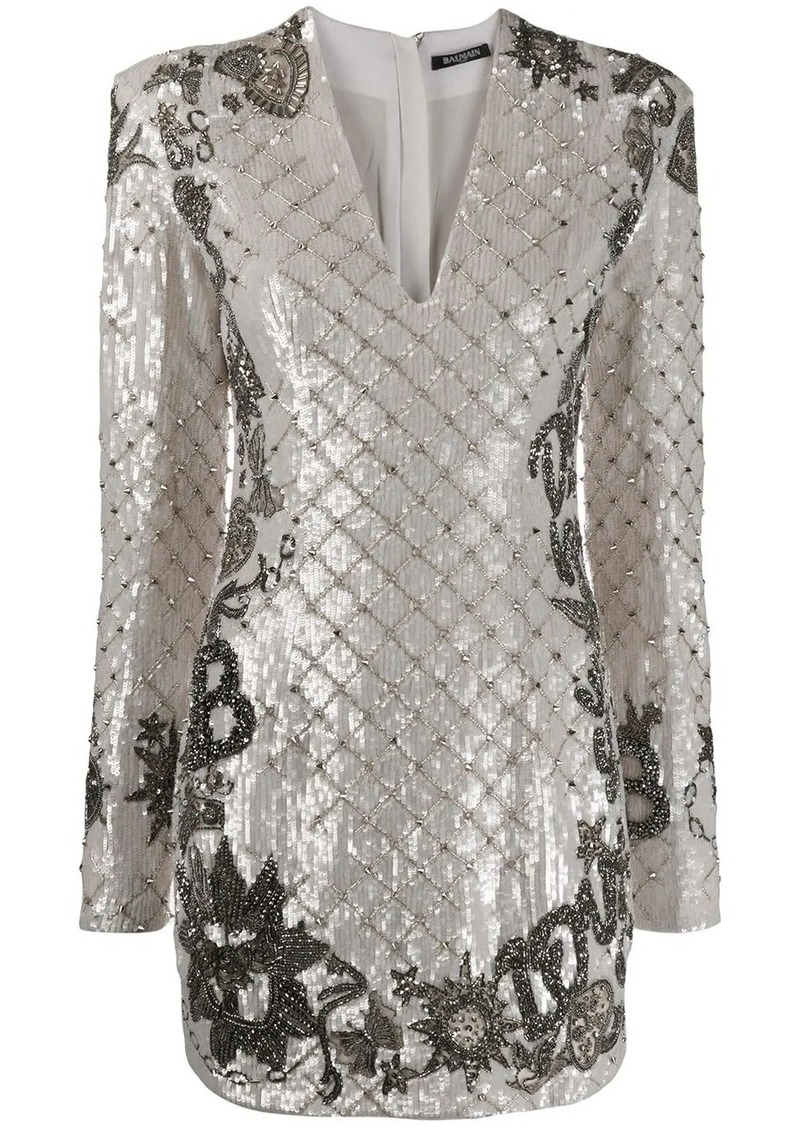 Balmain bead embroidered sequinned dress