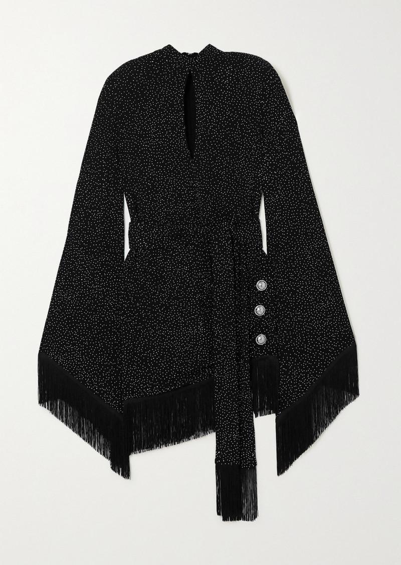 Balmain Belted Fringed Crystal-embellished Crepe Mini Dress