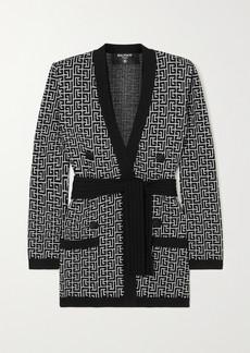 Balmain Belted Jacquard-knit Wool-blend Cardigan