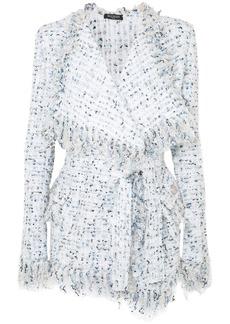 Balmain Belted Metallic Tweed Jacket