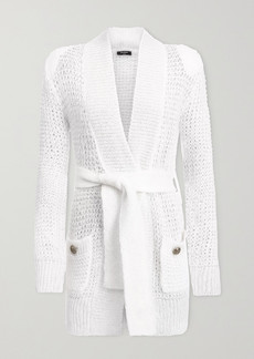 Balmain Belted Open-knit Mohair-blend Cardigan