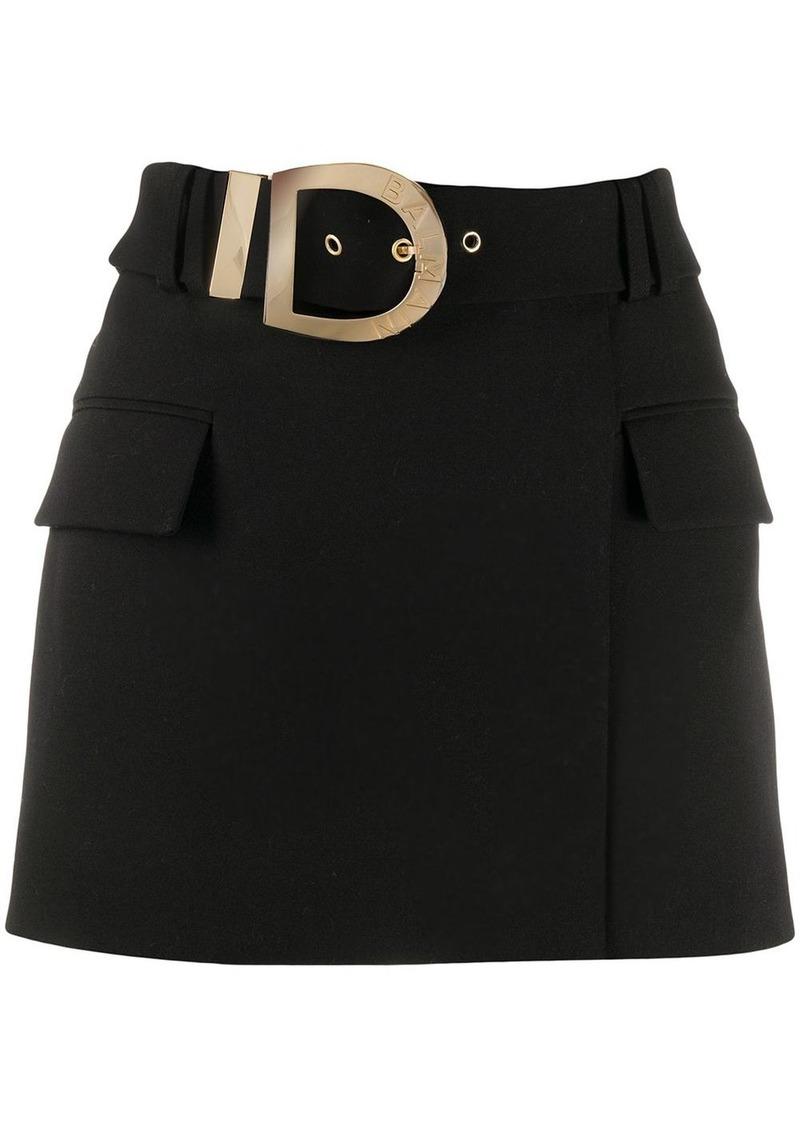 Balmain belted short skirt