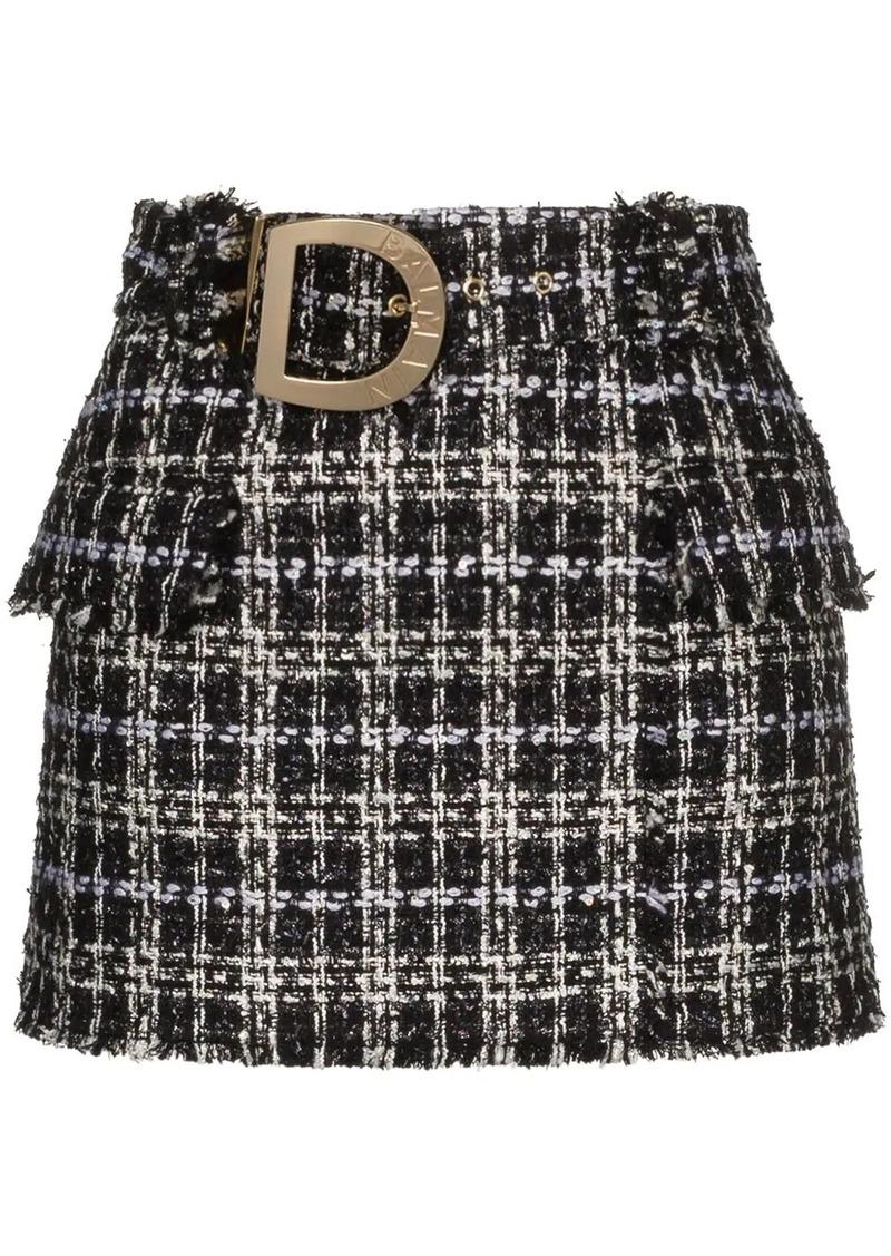 Balmain belted tweed mini skirt