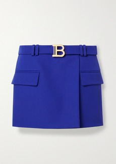 Balmain Belted Wool-crepe Mini Skirt