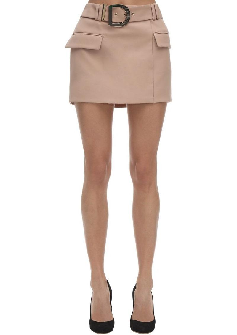 Balmain Belted Wool Grain De Poudre Mini Skirt