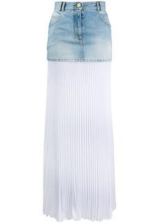 Balmain bi-material pleated denim skirt