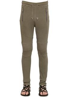 Balmain Biker Cotton Jersey Sweatpants
