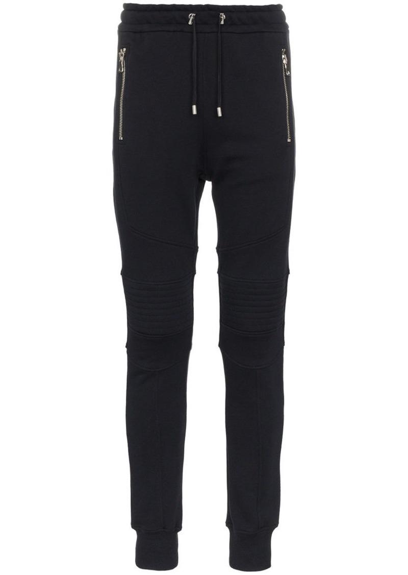 Balmain biker cotton sweat pants