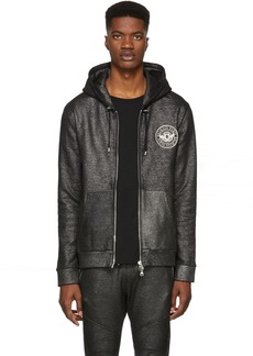 Balmain Black & Silver Zip-Up Hoodie