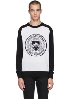 Balmain Black & White Logo Crest Sweater