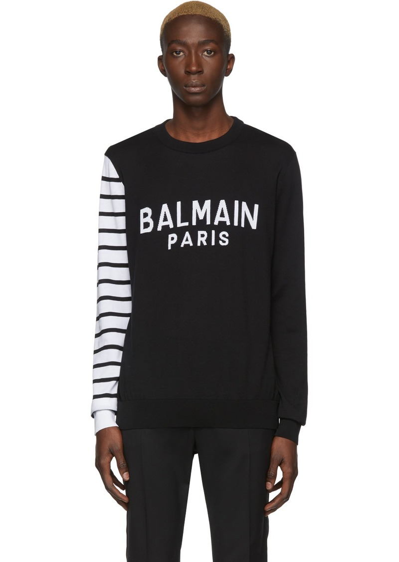 Balmain Black & White Logo Sweater