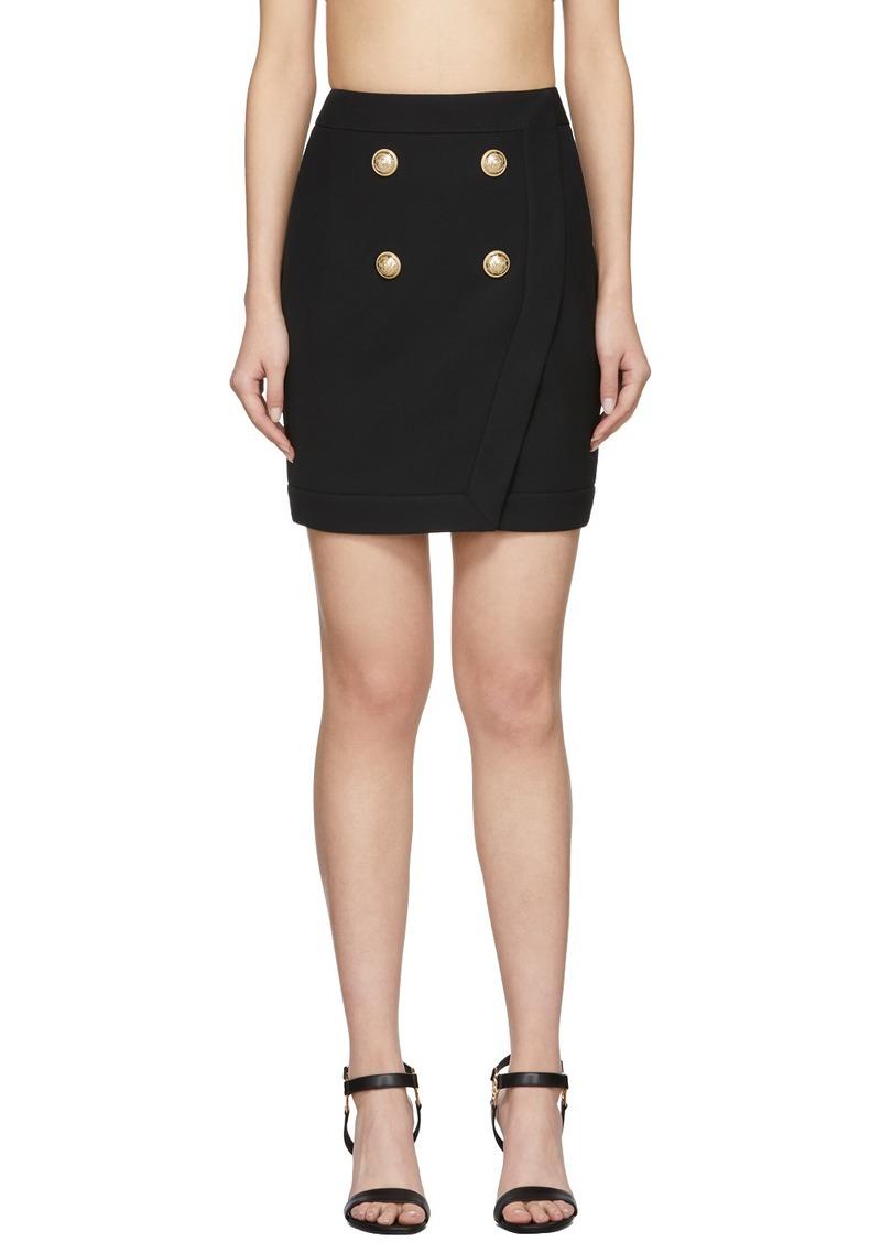 Balmain Black 4-Button Wrap Skirt