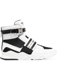 Balmain black and white logo print mesh leather high-top sneakers