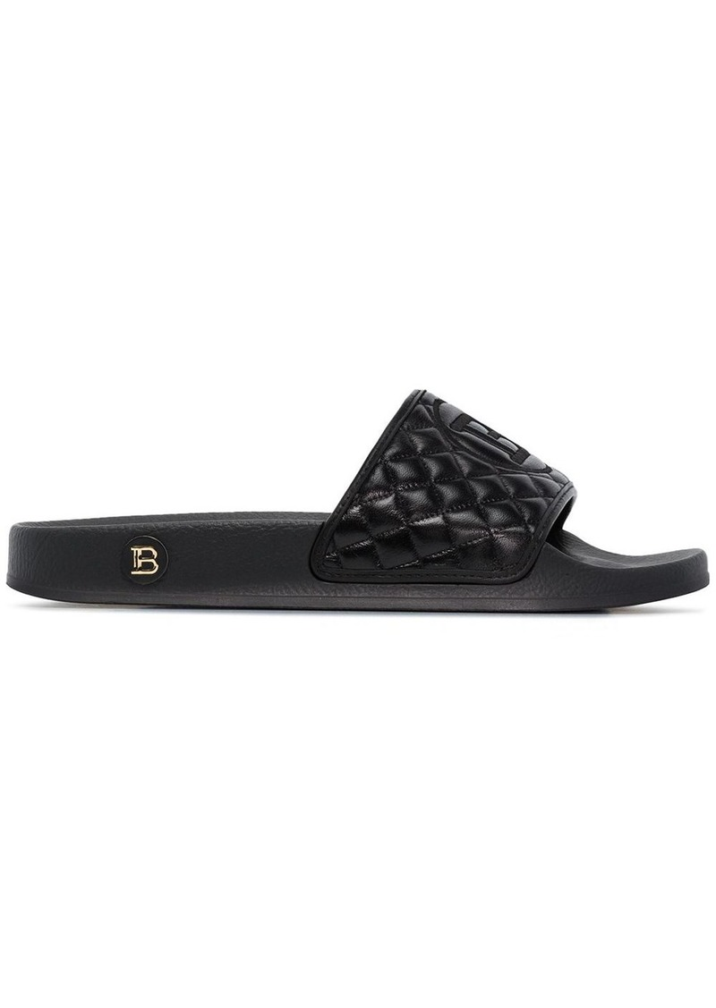 Balmain Calypso logo-embroidered quilted slides
