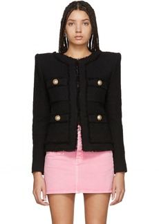 Balmain Black Collarless Tweed Jacket