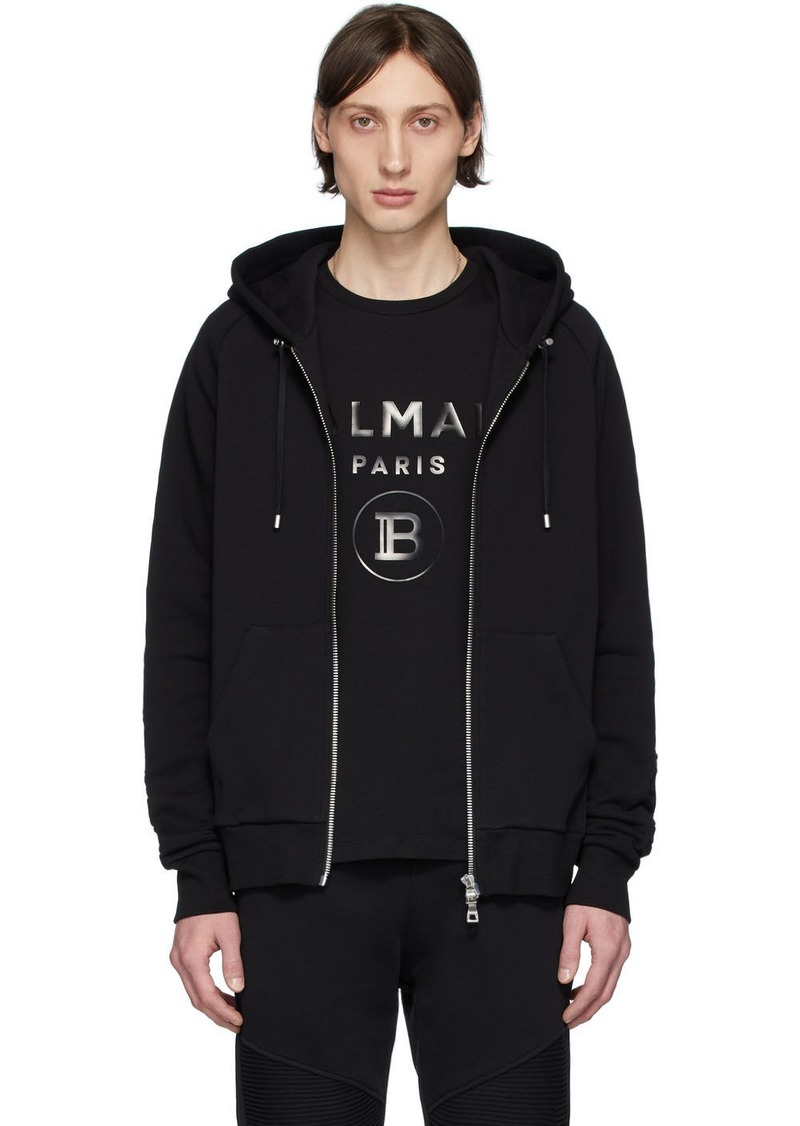Balmain Black Debossed Zip-Up Hoodie