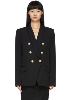 Balmain Black Grain De Poudre Oversized 6-Button Blazer
