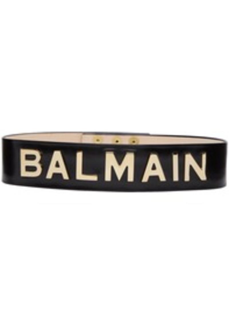 57a6f6ce31a Balmain Black High-Waist Logo Belt